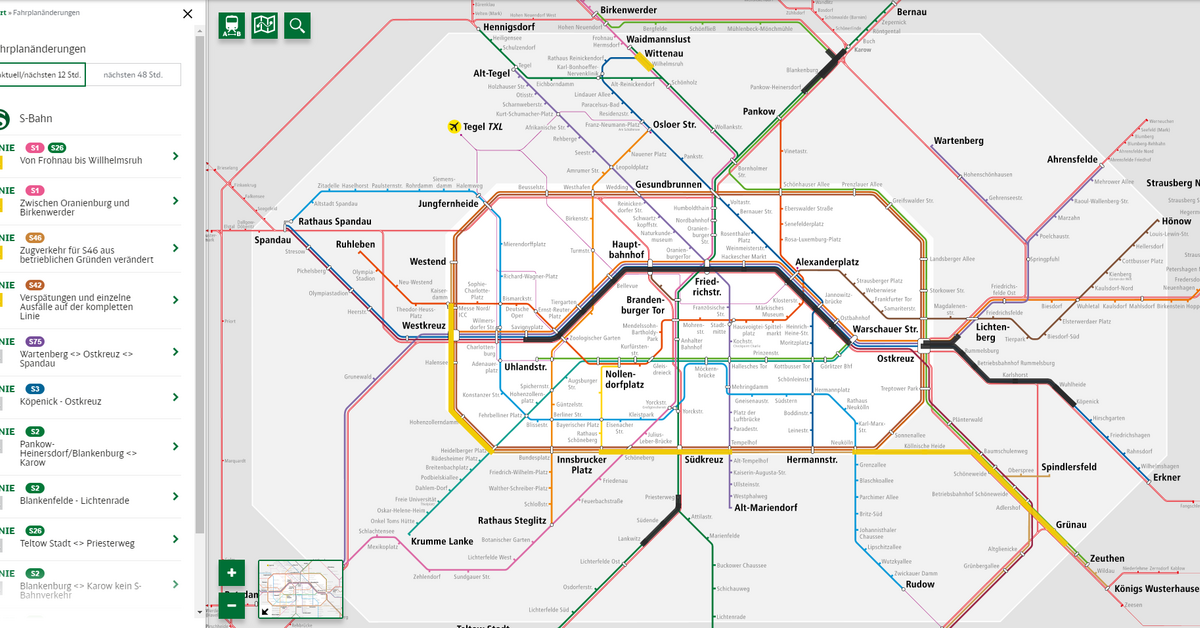 U Of S Map Route Map | S Bahn Berlin GmbH