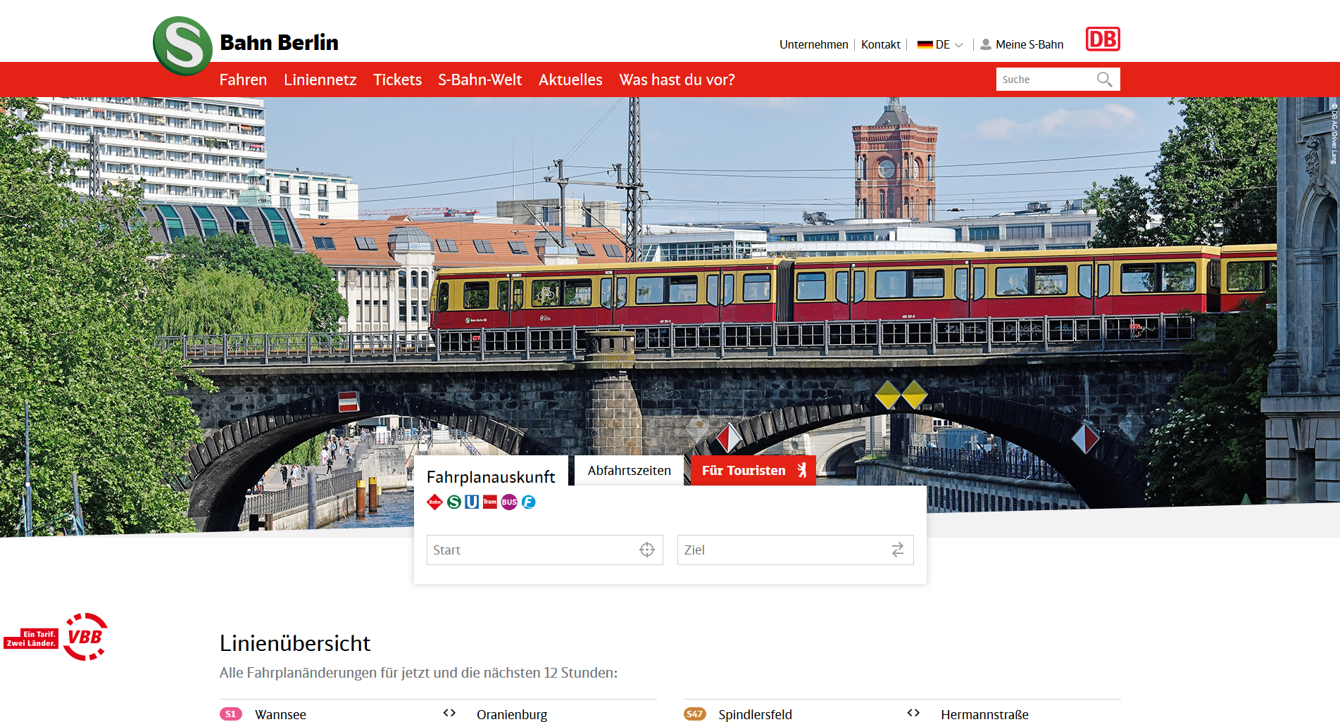 Start Page Of S Bahn Berlin With Journey Planner